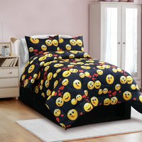 Emoji Madness - Black Multi Color Twin, Full, Queen Comforter Set