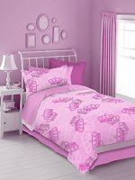 Pink Crowns, 4-PC Twin Comforter Set (Pink)