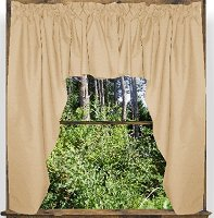 Solid Tan Colored Swag Window Valance (optional center piece available)