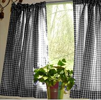 Black Gingham Kitchen/Café Curtain (unlined or with white or blackout lining in many custom lengths)