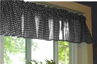 Black Gingham Check Valances (set of two 40 inch wide, available in many lengths)