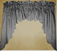 Black Scalloped Window Swag Valance with White Lining (optional center piece available)