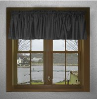 Solid Black Color Valances (set of two 40 inch wide, available in many lengths)