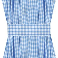 Blue Gingham French Door Curtain Panels (available in many lengths)