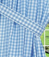 Blue Gingham Check Window Long Curtain (available in many lengths and with or without white or blackout lining)