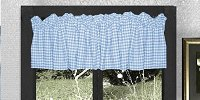 Blue Gingham Check Valances (set of two 40 inch wide, available in many lengths)