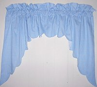 Blue Scalloped Window Swag Valance with White Lining (optional center piece available)