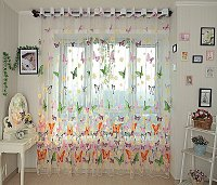 Window Sheer Curtains Panel, Brazilian Butterflies