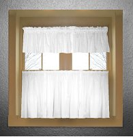Solid Bright White Colored Café Style Curtain (includes 2 valances and 2 kitchen curtain panels in many custom lengths)