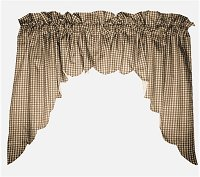 Brown Scalloped Window Swag Valance with White Lining (optional center piece available)