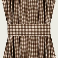 Brown Gingham French Door Curtain Panels (available in many lengths)