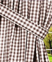 Brown Gingham Check Window Long Curtain (available in many lengths and with or without white or blackout lining)