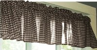 Brown Gingham Check Valances (set of two 40 inch wide, available in many lengths)