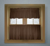 Solid Brown Colored Kitchen Curtain only — Valance Sold Separately — (available in many custom lengths)