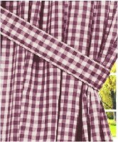 Burgundy Wine Gingham Check Window Long Curtain (available in many lengths and with or without white or blackout lining)