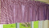 Burgundy-Wine Gingham Check Valances (set of two 40 inch wide, available in many lengths)