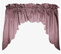 Burgundy-Wine (Magenta) Scalloped Window Swag Valance with White Lining (optional center piece available)