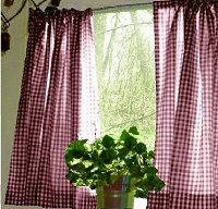 Burgundy-Wine Gingham Kitchen/Café Curtain (unlined or with white or blackout lining in many custom lengths)