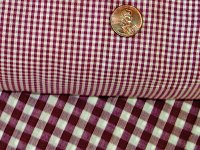 Burgundy Wine Mini Check Gingham French Door Curtain Panels (available in many lengths)