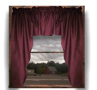Solid Burgundy (Dark) Wine Colored Swag Window Valance (optional center piece available)