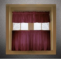 Solid Burgundy (Dark) Wine Colored Kitchen Curtain only — Valance Sold Separately — (available in many custom lengths)
