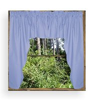 Solid Caribbean Blue Colored Swag Window Valance (optional center piece available)