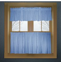 Solid Caribbean Blue Colored Kitchen Curtain only — Valance Sold Separately — (available in many custom lengths)