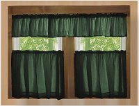 Solid Dark Forrest Green Colored Kitchen Curtain only — Valance Sold Separately — (available in many custom lengths)