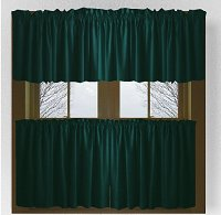 Solid Dark Teal Colored Café Style Curtain (includes 2 valances and 2 kitchen curtain panels in many custom lengths)