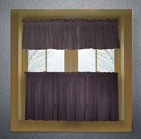 Solid Eggplant Purple Colored Café Style Curtain (includes 2 valances and 2 kitchen curtain panels in many custom lengths)