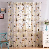 Window Sheer Curtains Panel, Fortune Butterflies