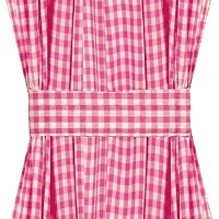Hot Pink-Fuchsia Gingham French Door Curtain Panels (available in many lengths)