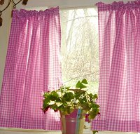 Hot Pink-Fuchsia Gingham Kitchen/Café Curtain (unlined or with white or blackout lining in many custom lengths)