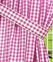 Hot Pink-Fuchsia Gingham Check Window Long Curtain - (available in many lengths and with or without white or blackout lining)