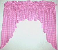 Hot Pink-Fuchsia Scalloped Window Swag Valance with White Lining (optional center piece available)
