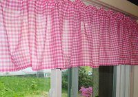 Hot Pink-Fuchsia Gingham Check Valances (set of two 40 inch wide, available in many lengths)