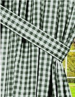 Hunter Green Gingham Check Window Long Curtain (available in many lengths and with or without white or blackout lining)