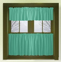 Solid Jade Green Café Style Tier Curtain (includes 2 valances and 2 kitchen curtain panels in many custom lengths)