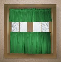 Solid Kelly Green Colored Kitchen Curtain only — Valance Sold Separately — (available in many custom lengths)
