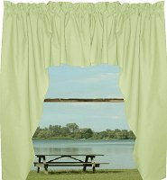 Solid Light Green Colored Swag Window Valance (optional center piece available)