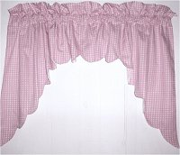 Light Pink Scalloped Window Swag Valance with White Lining (optional center piece available)