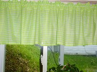 Lime Gingham Check Valances (set of two 40 inch wide, available in many lengths)