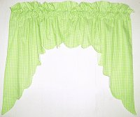 Lime Green Scalloped Window Swag Valance with White Lining (optional center piece available)