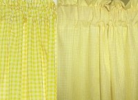 Mini Check Yellow Gingham French Door Curtain Panels (available in many lengths)