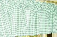 Mint Green Gingham Check Valances (set of two 40 inch wide, available in many lengths)