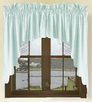 Mint Green Scalloped Window Swag Valance with White Lining (optional center piece available)