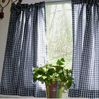 Gingham Navy Blue Two Panel Kitchen Curtain (24″ Long, White Lining, 1.5″ Pocket)