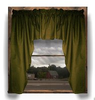 Solid Olive Green Colored Swag Window Valance (optional center piece available)