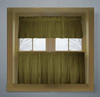 Solid Olive Green Colored Kitchen Curtain only — Valance Sold Separately — (available in many custom lengths)