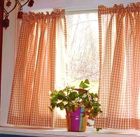Orange Gingham Kitchen/Café Curtain (unlined or with white or blackout lining in many custom lengths)